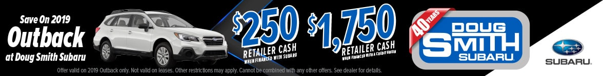 Save $1750 on New Subaru Outback at Doug Smith Subaru Dealer in Utah