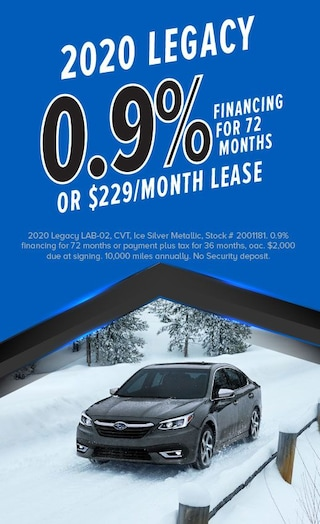 0.9% Financing for 72 months or $229/mo Lease on 2020 Legacy