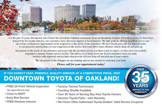 Printable Toyota Oil Change Coupons >> Oil Change And Auto Repair Specials In Oakland Downtown Toyota