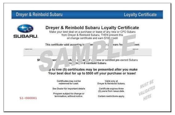 Dreyer Reinbold Subaru >> Dreyer Reinbold Subaru Loyalty Program Dreyer Reinbold