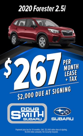 $267 per month lease on 2020 Subaru Forester at Doug Smith