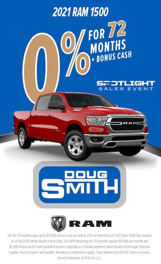 0% for 72 Months + Bonus Cash on 2021 Ram 1500