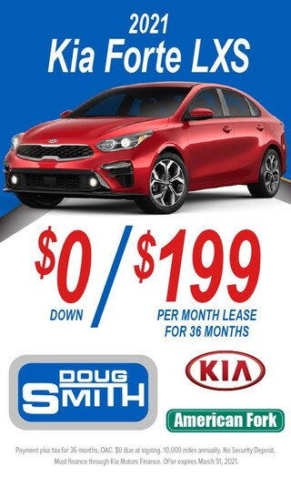 $0 Down/$199 Per Month Lease for 36 Months on 2021 Kia Forte LXS