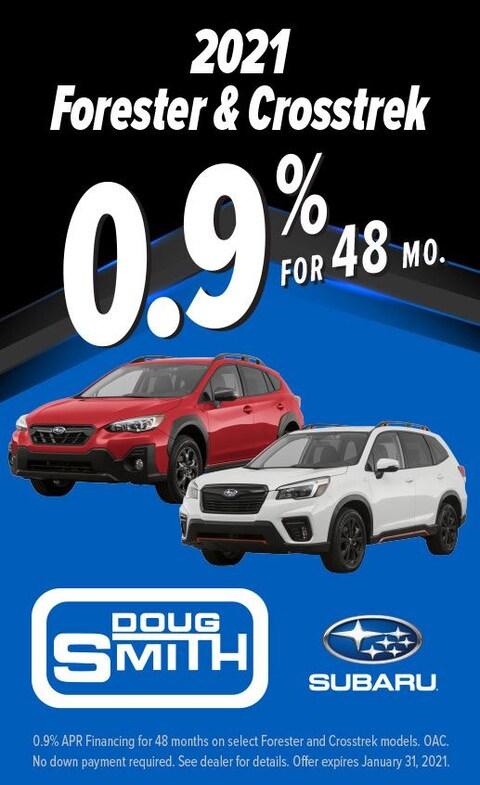 0.9% for 48 Months on 2021 Subaru Forester & Crosstrek