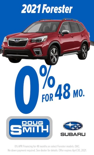 0% for 48 Months on 2021 Subaru Forester at Doug Smith