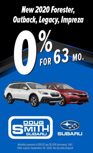 0% for 63 Months on select 2020 Subaru models at Doug Smith