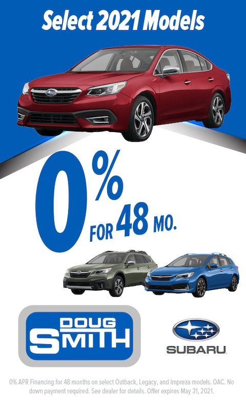 0% for 48 Months on select 2021 Subaru models