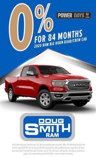 0% for 84 Months on 2020 Ram Big Horn Quad/Crew Cab at Doug Smith