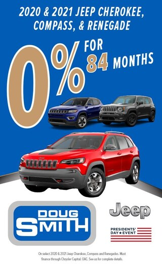 0% for 84 Months on 2020 & 2021 Jeep Cherokee, Compass, & Renegade