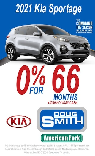 0% for 66 Months + $500 Holiday Cash on 2021 Kia Sportage
