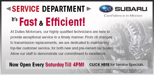 Dulles Leesburg Subaru Service Center: It's Fast and Efficient! At Dulles Subaru, our highly qualified technicians are here to provide exceptional service in a timely manner. From oil changes to transmission replacements, we are dedicated to maintaining top-tier customer service, for both new and pre-owned car buyers. Allow our staff to demonstrate our commitment to excellence. Service Specials.