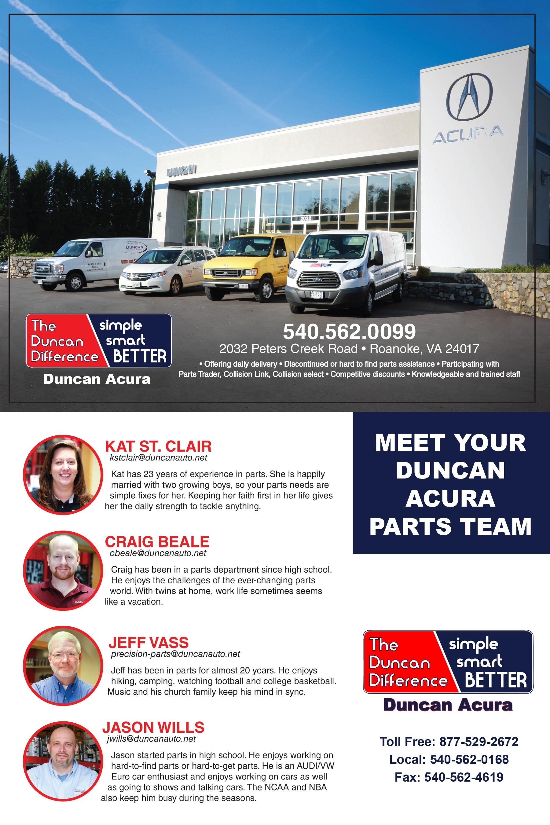 Duncan Acura Parts Department Duncan Acura