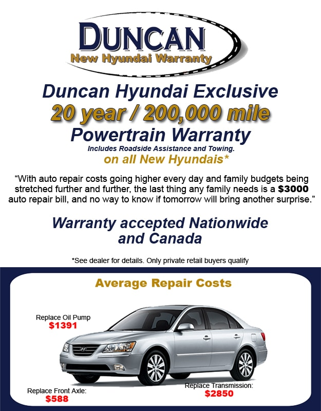 Delightful Duncan Exclusive New Hyundai Warranty