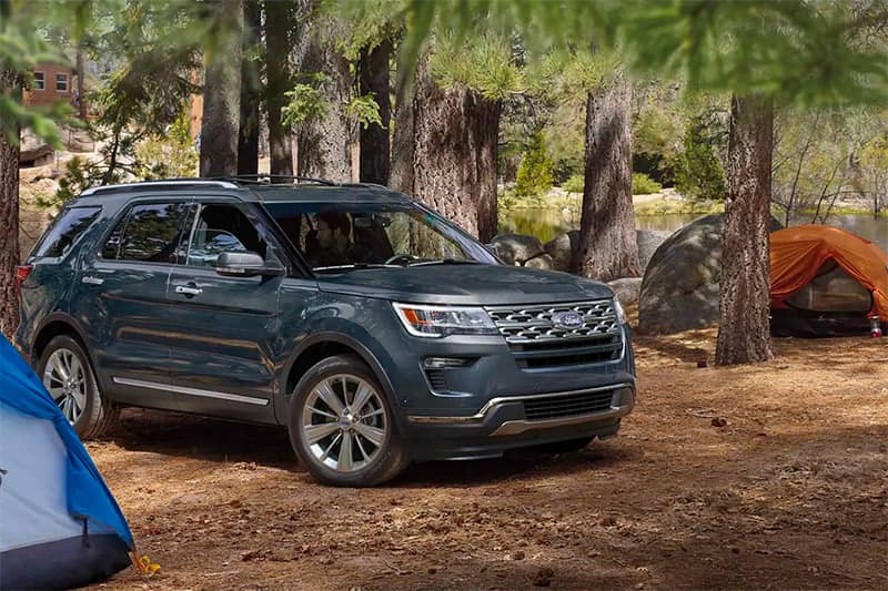 2019 Ford Explorer at campsite with tents