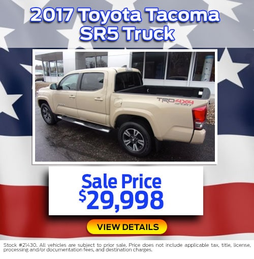 $29,998 Purchase Offer on a Used 2017 Toyota Tacoma SR5 Truck