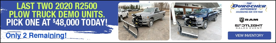 Last Two 2020 R2500 Plow Truck Demo Units. Pick one at $48,000 today!