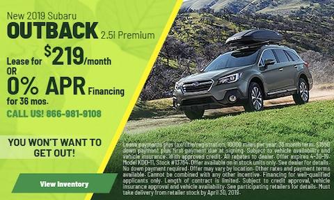 April 2019 Outback Offer at DuTeau Subaru