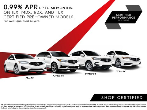 0.99% APR Up to 60 Months on Certified ILX, MDX, RDX, TLX