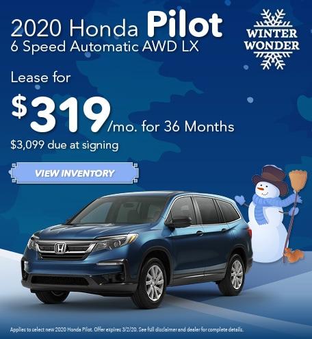 New 2020 Honda Pilot 6 Speed Automatic AWD LX | Lease