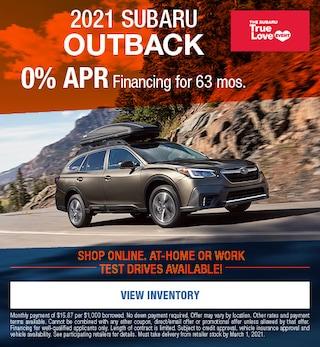 2021 Subaru Outback- February APR Offer