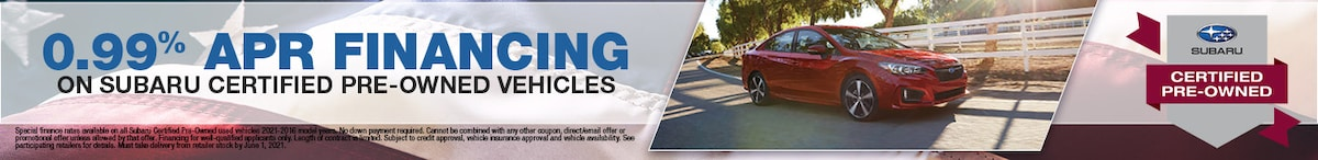 0.99% APR Financing on Subaru Certified Pre-Owned Vehicles- May Offer