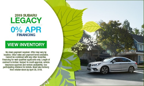 April Subaru Legacy 0% Offer