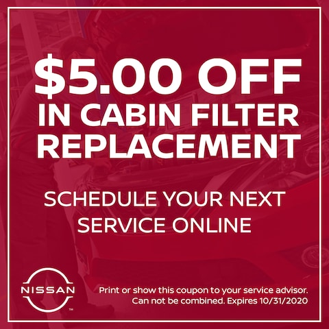 $5.00 Off In Cabin Filter Replacement