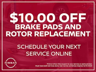 $10.00 Off Brake Pads and Rotor Replacement