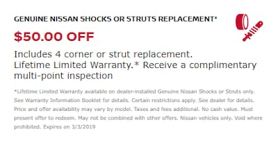 GENUINE NISSAN SHOCKS OR STRUTS REPLACEMENT*