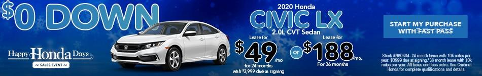 2020 Honda Civic LX 2.0L CVT Sedan November