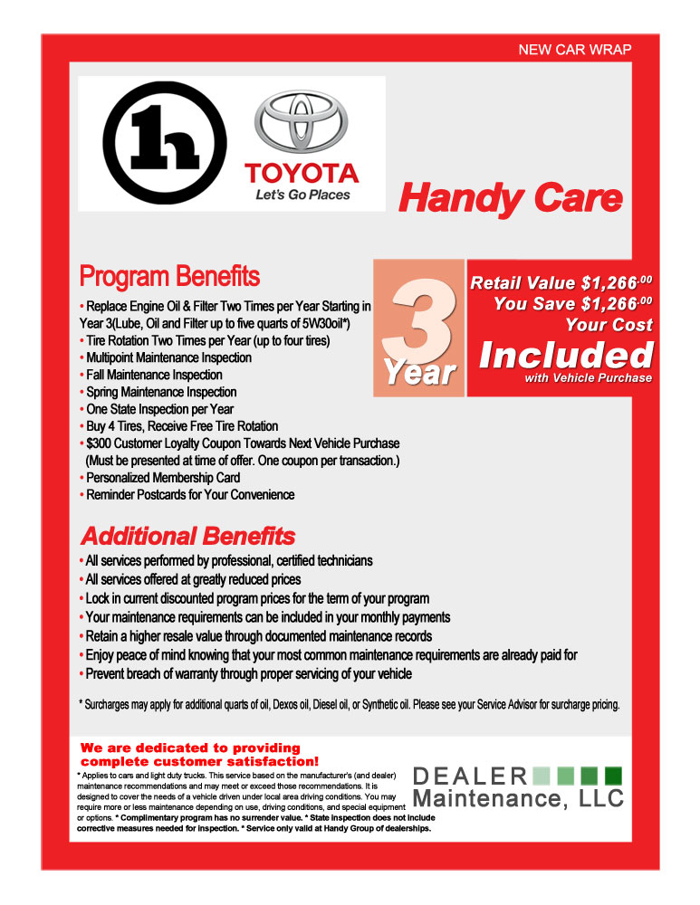 about handy care toyota service and maintenance program