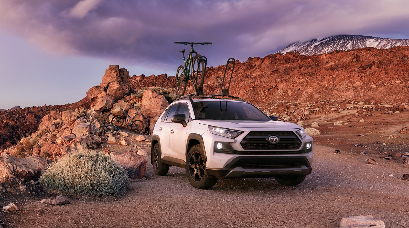 Performance features of the 2020 Toyota RAV4 at Johnstons Toyota | White 2020 RAV4 parked on top of a mountain
