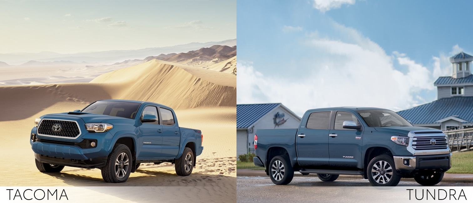 Tacoma and a Tundra off roading
