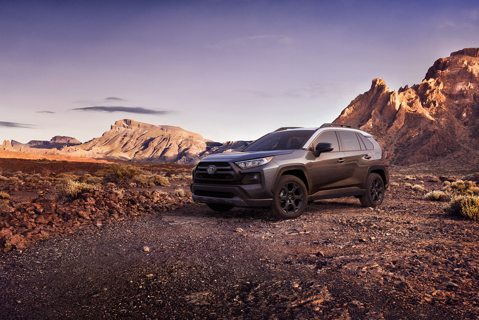 Performance features of the 2020 Toyota RAV4 at Johnstons Toyota | Grey 2020 RAV4 parked on top of a mountain