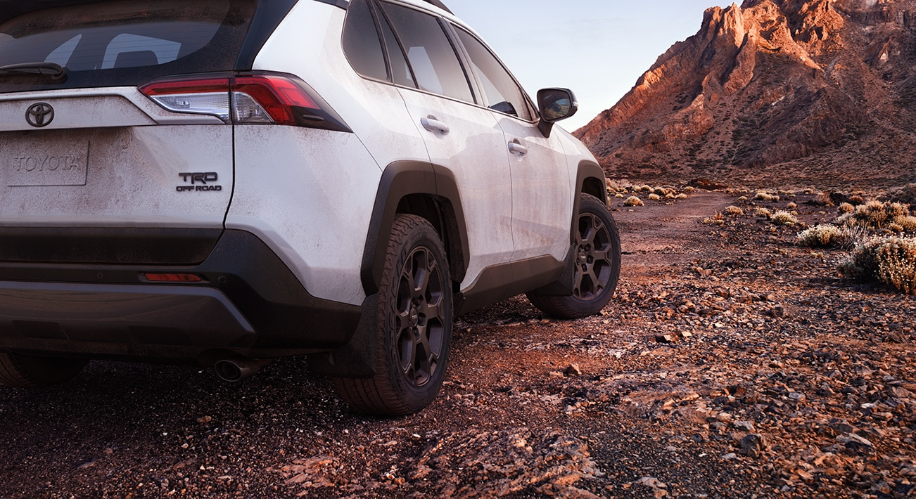 Performance features of the 2020 Toyota RAV4 at Johnstons Toyota | White 2020 RAV4 tailend