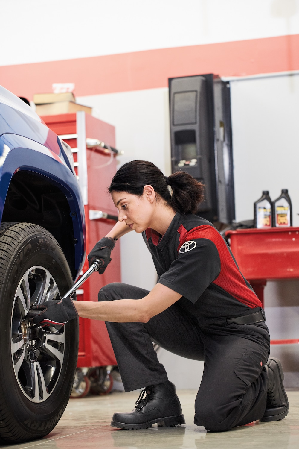 How to check your tires' health at Johnstons Toyota of New Hampton | Toyota Technician checking out car tire
