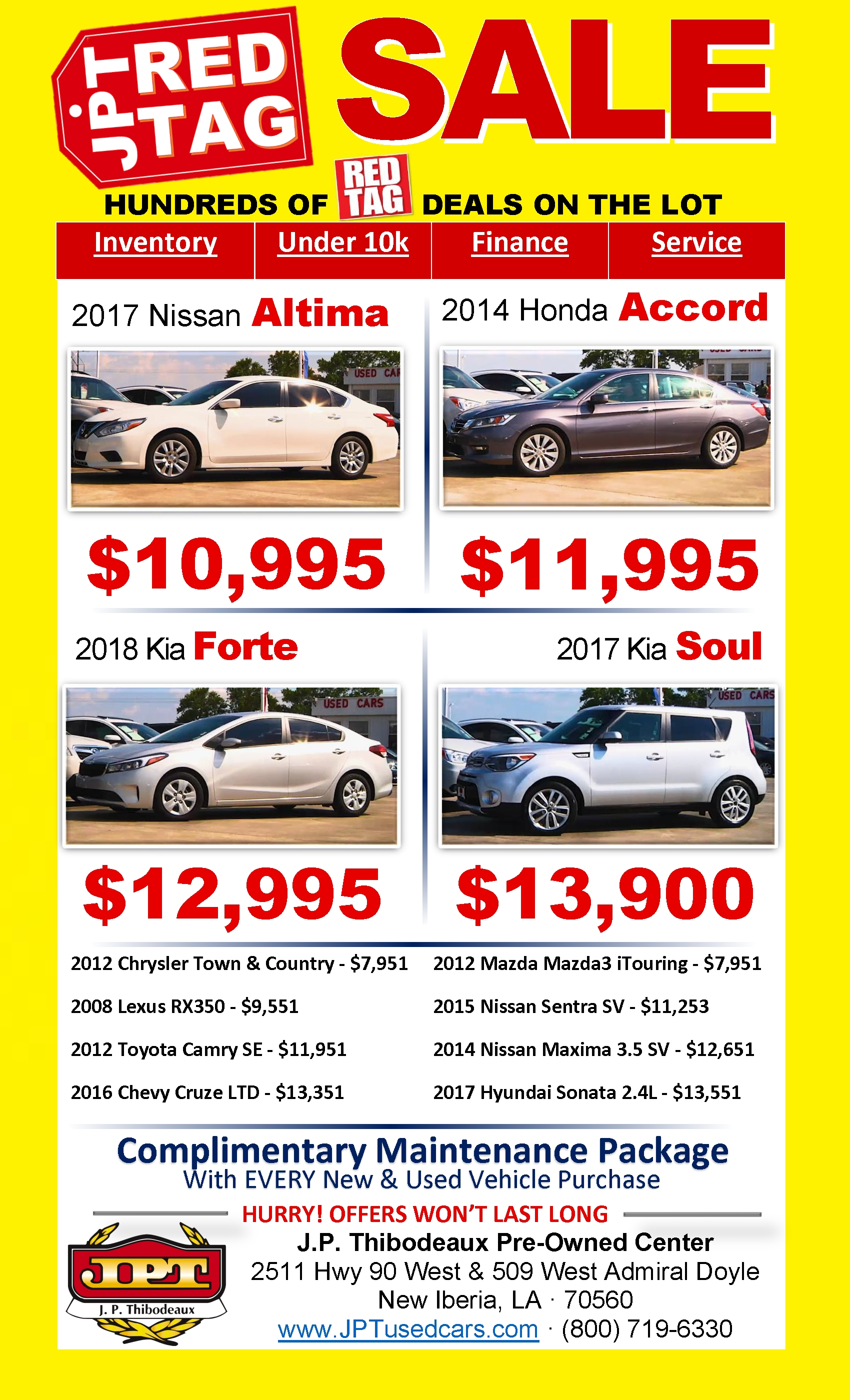 Jp Thibodeaux Used >> Used Vehicle Specials J P Thibodeaux Used Cars