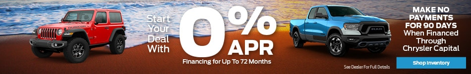 Start Your Deal With 0% APR Financing for Up To 72 Months