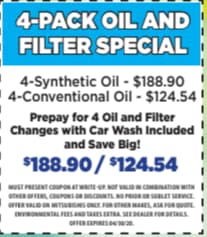 4-Pack Oil and Filter Special