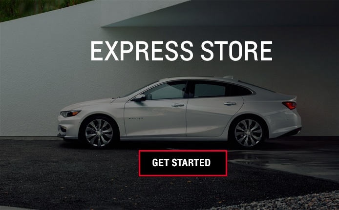 Photo of a Chevrolet Malibu and text that says Express Store - Get Started