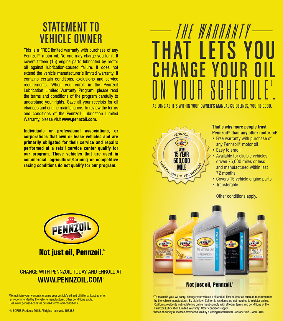 Treat your Vehicle to the Best with a Pennzoil Warranty from Dwayne Lane's
