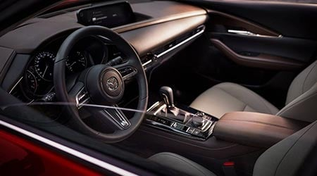 new 2020 mazda cx30 gray and black leather interior