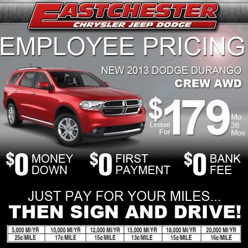 Employee Lease Pricing On The 2013 Dodge Durango Crew