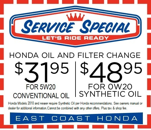 Synthetic Oil Change Coupon >> Honda Oil Change Coupon South Carolina Honda Service Center East