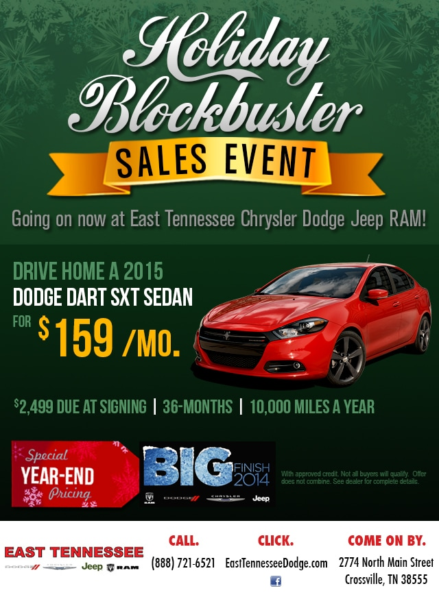 big finish 2014 holiday blockbuster sale east tennessee dodge serving crossville cookeville. Black Bedroom Furniture Sets. Home Design Ideas