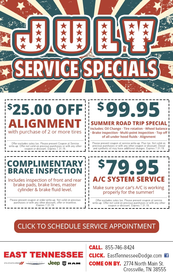 Save on vehicle service with service specials available at