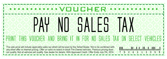 No Sales Tax Voucher near Cookeville TN