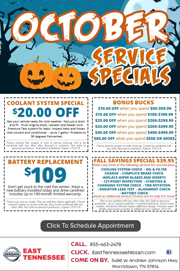 Nissan Service Coupon Specials Near Knoxville