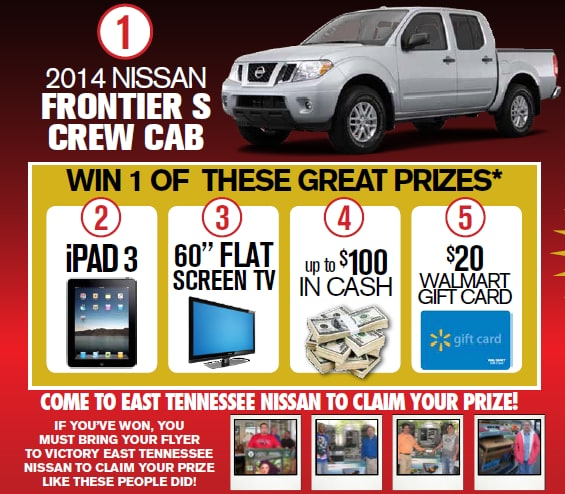 summer sell down sales event east tennessee nissan win 2014 nissan frontier or 25 000 cash. Black Bedroom Furniture Sets. Home Design Ideas