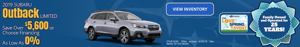 April Special - 2019 Subaru Outback Savings